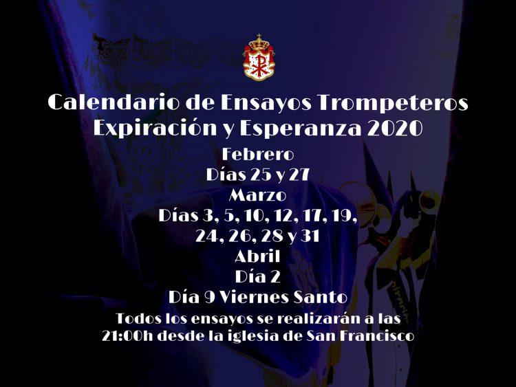 calendario ensayos trompeteros 2020