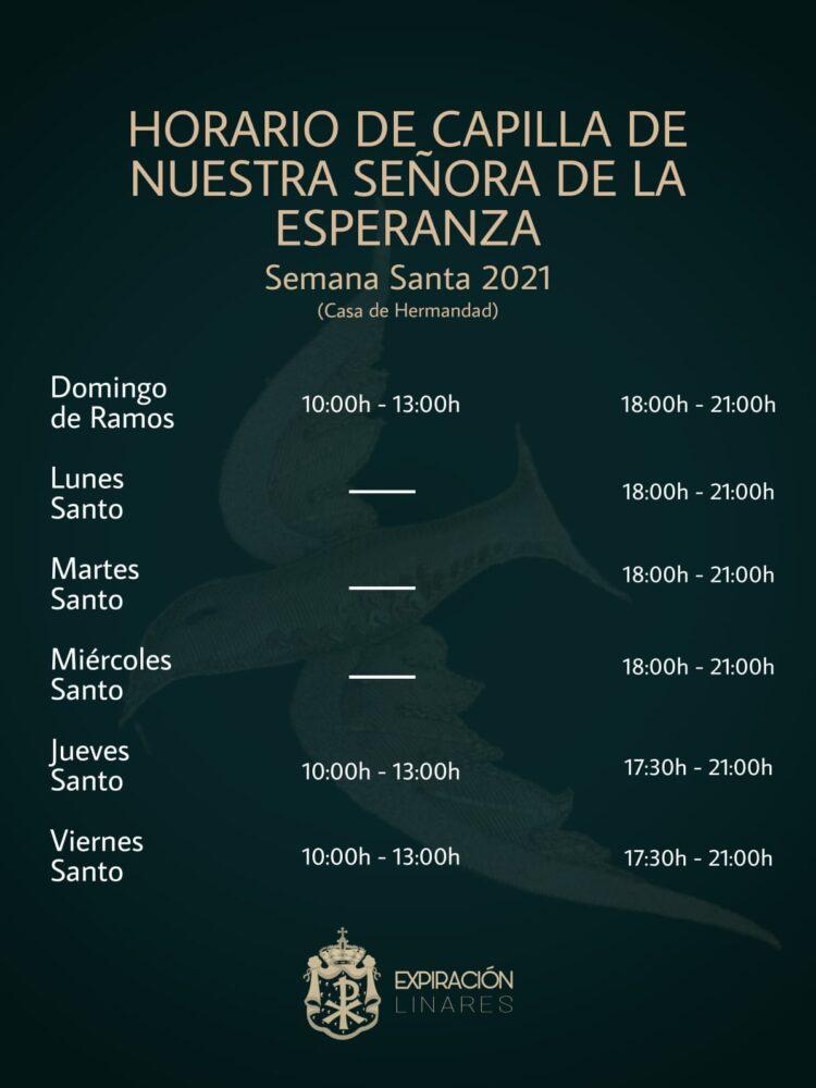 horario capilla semana santa 2021